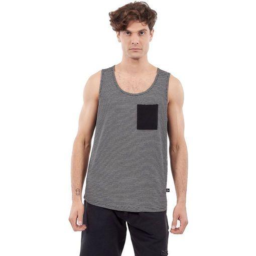 """Ανδρικό Αμάνικο T-Shirt """"Striped"""" Greenwood Μαύρο"""