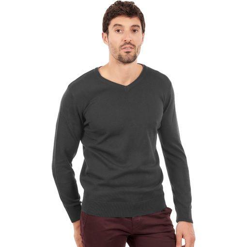 Ανδρική πλεκτή μπλούζα με λαιμό V Γκρί σκούρο