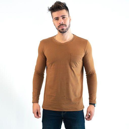 Ανδρική Μπλούζα Μακρυμάνικη Βαμβακερή Κάμελ με Τσέπη