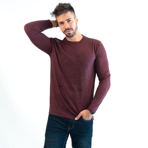 Ανδρική Μπλούζα Μακρυμάνικη Βαμβακερή Σκούρο Μωβ με Στάμπα