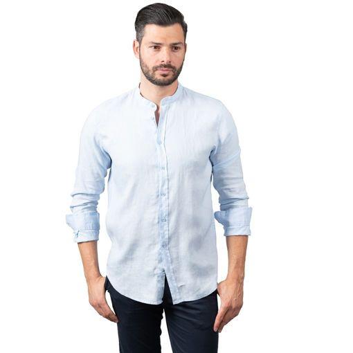 Ανδρικό μακρυμάνικο λινό πουκάμισο Serafino Collar