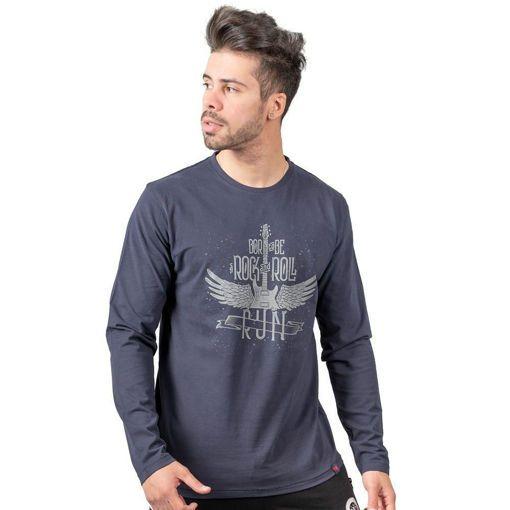 Ανδρική Μπλούζα Μακρυμάνικη RUN με Στάμπα