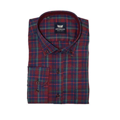 Ανδρικό καρό μακρυμάνικο πουκάμισο Greenwood Burgundy