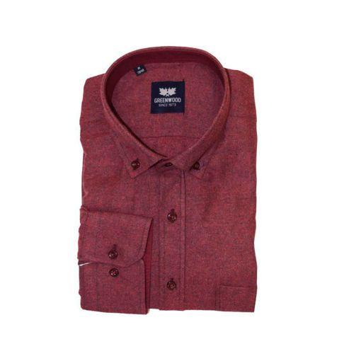 Ανδρικό μονόχρωμο μακρυμάνικο πουκάμισο Greenwood Red