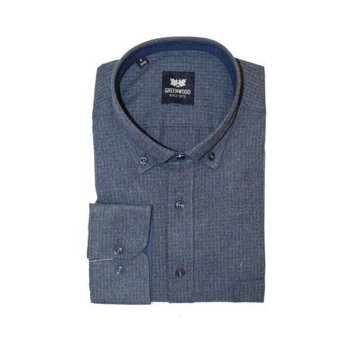 Ανδρικό μονόχρωμο μακρυμάνικο πουκάμισο Greenwood Navy