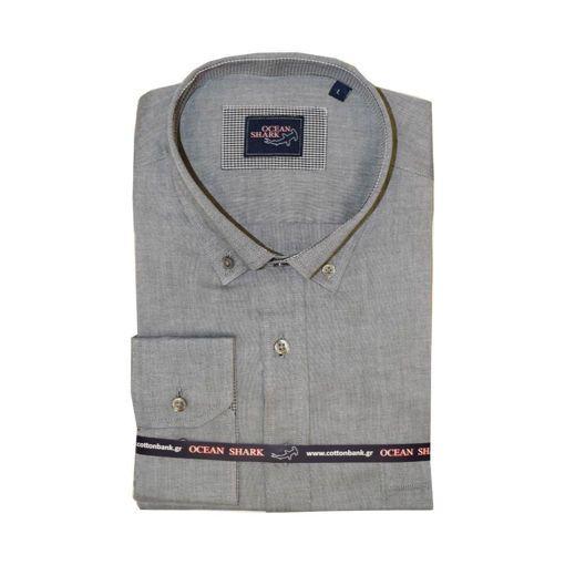 Ανδρικό Oxford πουκάμισο Ocean Shark  100% Cotton Button Down Collar - Anthracite