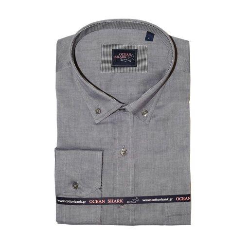 Ανδρικό Oxford πουκάμισο Ocean Shark  100% Cotton Button Down Collar - Navy