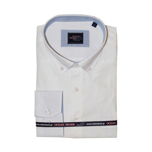 Ανδρικό Oxford πουκάμισο Ocean Shark  100% Cotton Button Down Collar - Off  White