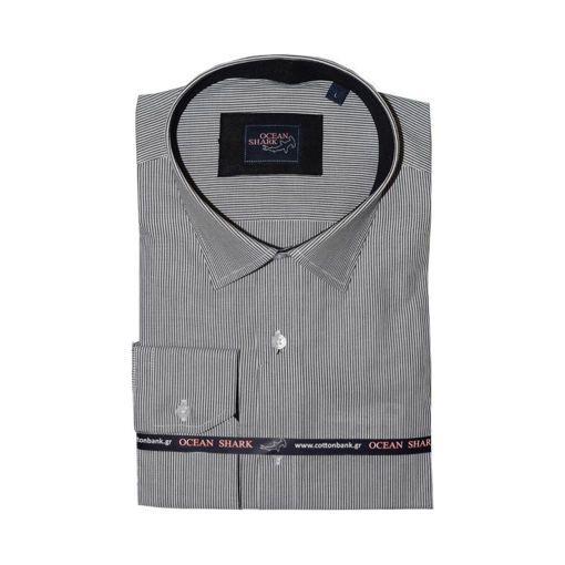 Ανδρικό ριγέ πουκάμισο Ocean Shark 100% Cotton - Black