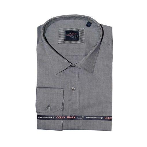 Ανδρικό Oxford πουκάμισο Ocean Shark  100% Cotton Classic Collar - Navy