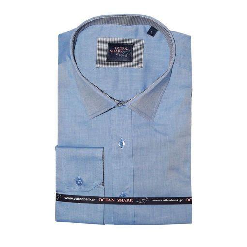 Ανδρικό Oxford πουκάμισο Ocean Shark  100% Cotton Classic Collar - Indigo