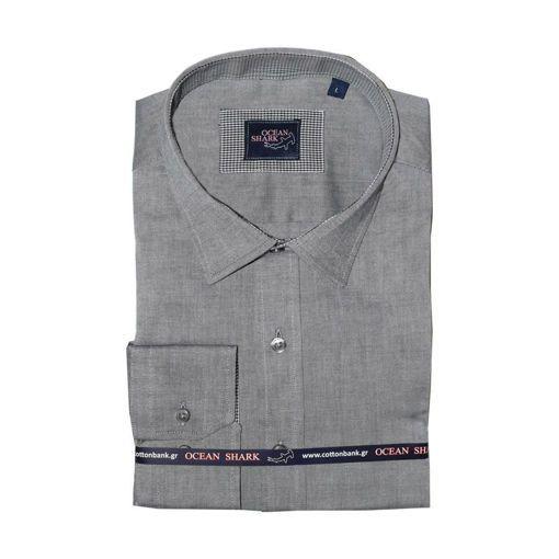 Ανδρικό Oxford πουκάμισο Ocean Shark  100% Cotton Classic Collar - Anthracite