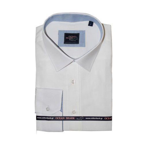 Ανδρικό Oxford πουκάμισο Ocean Shark  100% Cotton Classic Collar - Off White