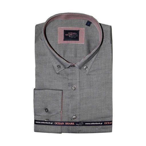 Ανδρικό Oxford πουκάμισο Ocean Shark  100% Cotton Button Down Collar - Dark Grey