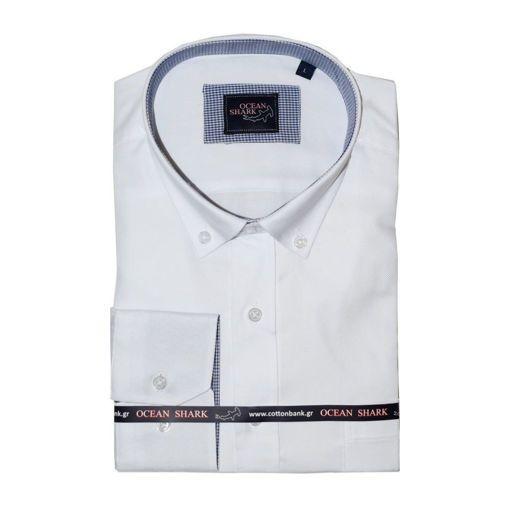 Ανδρικό Oxford πουκάμισο Ocean Shark  100% Cotton Button Down Collar - White