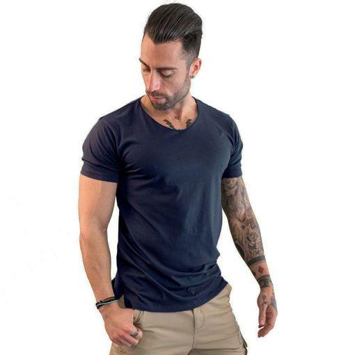 Ανδρικό T-shirt V Neck Battery Μπλε Σκούρο